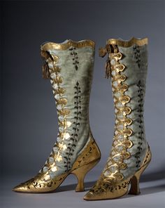 Boots: ca. 1870, leather boots.