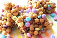 Easy Easter treat - Combine Rice Crispy treats, marshmallows, butter, M and peanut butter... yum