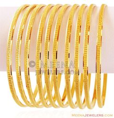 Gold Machine Bangles Set - - Gold bangles Pcs), excellently designed in linear pattern with fine machine cuts. Plain Gold Bangles, Gold Bangles Design, Gold Earrings Designs, Silver Bracelets, Bangle Bracelets, Quartz Jewelry, Diamond Jewelry, Gold Jewelry, Fine Jewelry