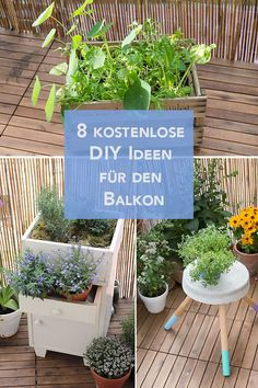 Do-it-yourself balcony ideas - now at garten-fräulein.de 8 free and individual DIY ideas for the balcony. I would like to show you my most beautiful balcony ideas here – to tinker with! Back Gardens, Small Gardens, Outdoor Gardens, Balkon Design, Make Your Own, Make It Yourself, Apartment Balconies, Ideias Diy, Advantages Of Watermelon