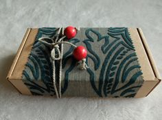 Green Red Natural Christmas gift box Gift Wrapping by PaperRhythms
