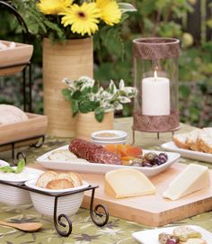 Entertaining outdoors with Bamboo and Vanilla Cream serving pieces.