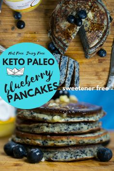 BLUEBERRY PANCAKES! These #keto #paleo pancakes are easy to make with a few ingredients. They are #dairyfree #nutfree and made with whole food ingrdients!