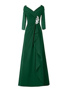 Cdress V-Neck Beads Long Sleeves Chiffon Mother of the Bride Dresses Prom Gowns Dark_Green US 20W at Amazon Women's Clothing store: