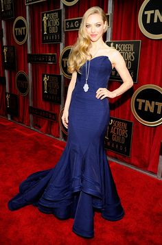 Amanda Seyfried looked like a knockout in a Zac Posen dress and Lorraine Schwartz jewelry at the 2013 SAG Awards.