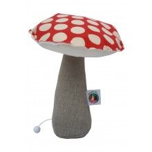 ANNABEL KERN Musical Mushroom Red --- Musical Mushroom by Annabel Kern. Hand made in Marseille, France. Perfect nursery gift. Dimensions: 25 x 22 cm  Material: 100% Cotton with polyester stuffing. Gentle hand wash.Suitable for children to play with from 3 years of age.