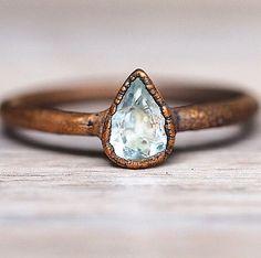 bohemian jewelry aquamarine copper gypsy ring