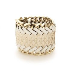 Wide woven leather cuff by Elena Meyer