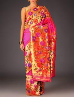 Fuschia-Red Paithani Silk Handwoven Saree By Ekaya