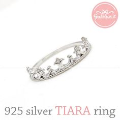 sterling silver, TIARA ring with crystals