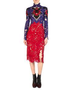 Orlando+Colorblock+Lace+Sheath+Dress+by+Erdem+at+Bergdorf+Goodman.