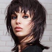 black shaggy hairstyle for medium length hair