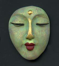 Polymer OOAK Buddha Face  Cab  ♡