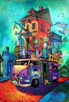 Terrance Osborne Art -- New Orleans Artist -- Evacuation Plan Art And Illustration, Fantasy Kunst, Fantasy Art, Evacuation Plan, Louisiana Art, New Orleans Art, Art Du Fil, Whimsical Art, Home Art
