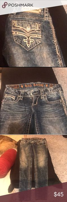 Rock revival skinny Distressed wash, all stitching, metal decals and leather accents intact, hardly worn. No chub rub no damage on bottom cuffs of jeans. False flap! Don't have to unbutton to use pocket. Flawless condition Rock Revival Jeans Skinny
