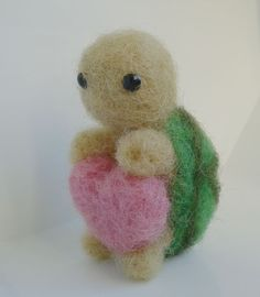 Little Turtle with a pink heart needle felted by Feltlikeheaven on Etsy