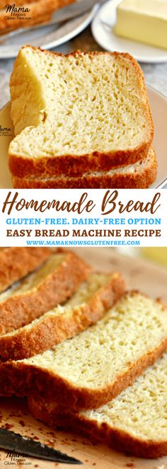 Looking for that perfect loaf of homemade gluten-free bread? Try my easy gluten-free bread recipe that will satisfy cravings for soft and tasty bread. Easy bread machine recipe. Includes dairy-free option. Recipe from www.mamaknowsglutenfree.com #glutenfreebread #homemadebread #dairyfreebread #glutenfree #dairyfree
