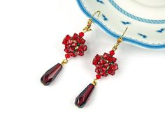 Red Swarovski Earrings Red Crystal Earrings by JewelrybyFlorist