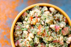 Tomato Basil Quinoa Salad: I am obsessed with quinoa. Super low on the glycemic index, and has all 9 essential amino acids to build a complete protein which enhances muscle growth!