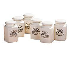 Set de 6 tarros para especias Vintage - crema