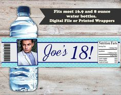 18th Birthday Water Bottle Labels, 18th Birthday Water Bottle Wrappers, 18th Birthday Party Favors, 18th Birthday Party, Adult Water Labels by PartiesR4Fun on Etsy