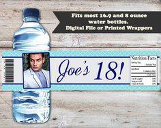 18th Birthday Water Bottle Labels, 18th Birthday Water Bottle Wrappers, 18th Birthday Party Favors, 18th Birthday Party, Adult Water Labels by PartiesR4Fun on Etsy
