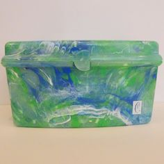 Caboodles Vintage Makeup Organizer Tote Green and Blue Crayon Swirl Pattern