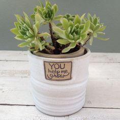 READY TO SHIP, Teacher Gift, Flower Pot, Personalized Planter, Ceramic Planter, Handmade Planter, Handmade Pottery, Stoneware Pot, white pot...