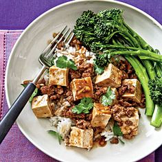 Ma Po Tofu with Steamed Broccolini from Cooking Light