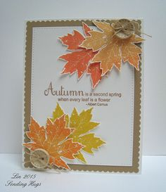 Gorgeous palette of autumn colors with a watercolor technique on a maple leaf. Stampin' Up!'s Colorful Seasons stamp set. Halloween Cards, Fall Halloween, Fall Cards, Holiday Cards, Christmas Greetings, Leaf Cards, Thanksgiving Cards, Tampons, Watercolor Cards