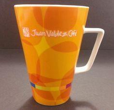 Juan Valdez Cafe coffee cup mug 10 oz #orange yellow Colombian tea coffeehouse #JuanValdez #rainbow