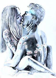 Portrait of couple. Art Romantique, Art Sketches, Art Drawings, Art Amour, Art Couple, Art Du Croquis, Romance Art, Art Mural, Wall Art