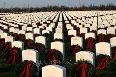 The Wreaths Across America Program is one way to express our Heartfelt Gratitude to all Vets, past, present and future, and their families, for the sacrifices made. Wreaths Across America, Cool Photos, Interesting Photos, National Cemetery, In God We Trust, National Trust, Inspirational Thoughts, Tis The Season, Thought Provoking
