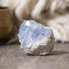 Approx. dimensions: 1 x 1/5 Approx. weight: 3-4oz *Please be aware that Celestite is very delicate and should be handled with care to avoid crumbling or breakage. It is normal when you open the package to see that some small pieces have broken off.* Blue Celestite (AKA Celestine) is known for