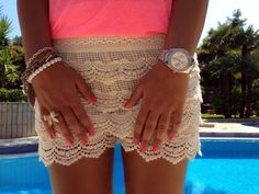 #Vintage High Waist Lace Shorts  women shorts #2dayslook #new #shorts #nice  www.2dayslook.com