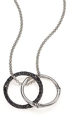 Bamboo Black Sapphire & Sterling Silver Medium Round Pendant Necklace