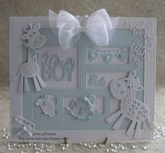 New baby cards sue wilson 42 ideas Baby Girl Cards, New Baby Cards, Baby Scrapbook, Scrapbook Cards, Birthday Cards For Boys, Boy Birthday, Tattered Lace Cards, Spellbinders Cards, Card Sentiments