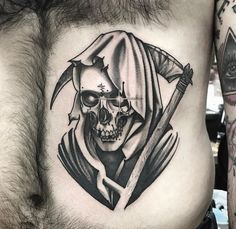 Another threat from Hungarian or Romanian headed Kaos or ? First guy who rented apt above me looked Russian, smirked as though he had seen me naked Evil Skull Tattoo, Occult Tattoo, Skull Tattoos, Black Tattoos, Body Art Tattoos, Sleeve Tattoos, Tatuaje Grim Reaper, Grim Reaper Art, Grim Reaper Tattoo