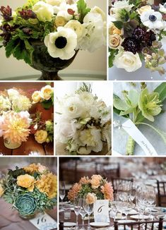 Top right and top left arrangements, Bottom right flower type
