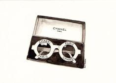 Chanel sunglasses Original Watercolor illustration by MilkFoam, $35.00