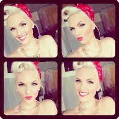 Pin up hair and makeup Pin Up Makeup, Hair Makeup, 50s Makeup, Vintage Makeup, Crazy Makeup, Makeup Art, 1940s Hairstyles, Cool Hairstyles, Wedding Hairstyles
