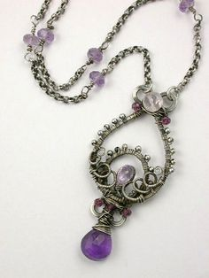 Coiled Amethyst Necklace | Flickr - Photo Sharing! #purple #necklace #wire-wrapping