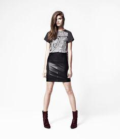 Lucille Leather Skirt, Women, Leather, AllSaints Spitalfields