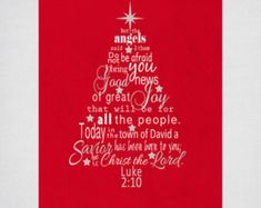 This Christmas tree scripture art with the Bible verse from Luke makes a lovely Christmas gift or decoration for your home. This printable digital file comes in the traditional red and green Christmas colors. Christmas Tree Printable, Christmas Bible Verses, Christmas Quotes, Christmas Crafts, Christmas Tree Design, Green Christmas, Christmas Colors, Xmas, Tree Wall Art