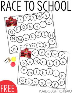 Race to School ABC Game! A fun hands-on literacy game for back to school! Great for alphabet review or working on letter recognition with preschool and kindergarten!