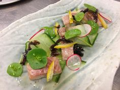 Smoked eel with miner's lettuce, confit lemon, pickled seaweed and radish. Fresh and delicious - Only found at Rata restaurant! #AmazingAccom #holidayhomes