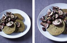 Dense moringa pancakes w/mushrooms // vegan, gluten-free, nut-free, soy-free