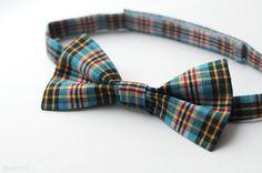Blue red plaid bow tie Boys tartan bowtie 1st birthday by Nastiin