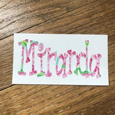 Lilly Pulitzer Inspired Name Personalized Decal for Car or Yeti or School Supplies Starting at $4