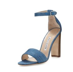 Manolo Blahnik Lauratopri Ankle-Wrap 105mm Sandal, Light Blue Jeans $745.00
